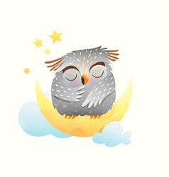 Baby animal owl sleeping at night sitting vector