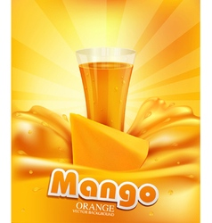 background with mango a glass of juice slices of m vector image