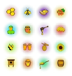 Beekeeping icons set comics style vector