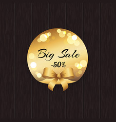 Big sale -50 off golden label with round elements vector