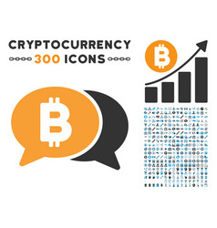 bitcoin chat flat icon with vector image