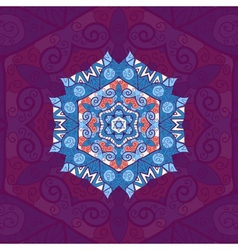 Blue mandala Oriental design over violet vector image