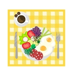 Breakfast on tablecloth top view vector