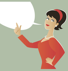 business woman and empty speech balloon cartoon vector image