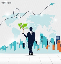 Businessman showing Tree shaped world map vector