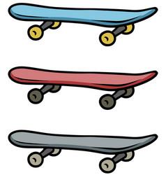 cartoon colored skateboard icon set vector image