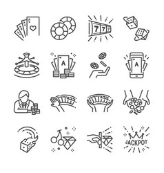 Casino and gamble line icon set vector