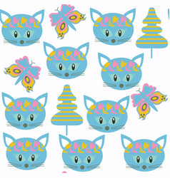 cats kids seamless pattern it is located in vector image