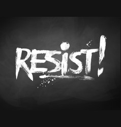 Chalked hand drawn resist word lettering vector