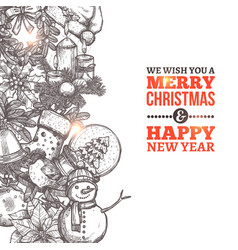 christmas card with in sketch style and typography vector image