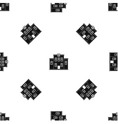 city hospital building pattern seamless black vector image