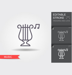 classical harp line icon with shadow and editable vector image