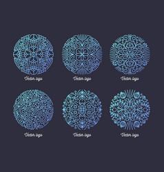 collection circular arabic motifs drawn vector image
