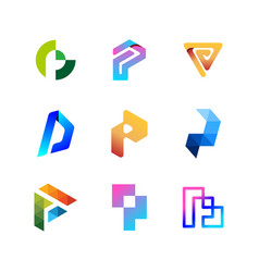 Collection logo letters p color gradient full vector