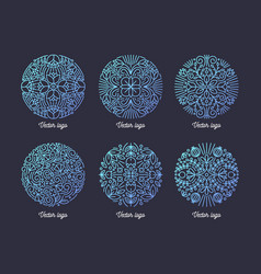 collection of circular arabic motifs drawn with vector image
