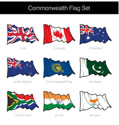 commonwealth waving flag set vector image