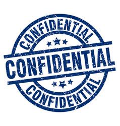 Confidential blue round grunge stamp vector