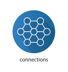Connections flat linear long shadow icon vector