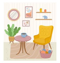 Cozy room interior home background contemporary vector