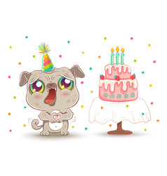 cute dog in birthday hat vector image