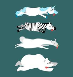 Dead animals set 1 unicorn and zebra llama and vector