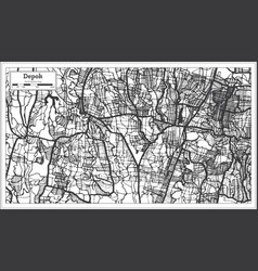 Depok indonesia city map in black and white color vector