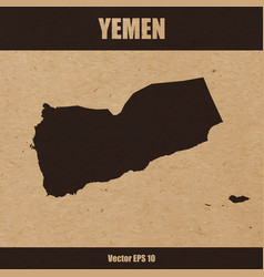 detailed map of yemen on craft paper vector image