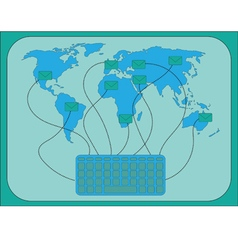 Email Map of the World vector