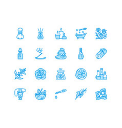 Essential oils aromatherapy flat line icons vector