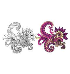 ethnic floral doodle pattern vector image