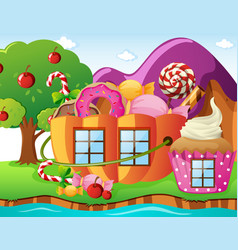Fantacy world with candy house and river vector