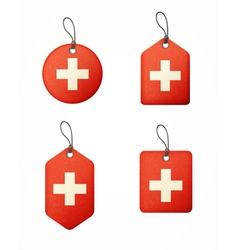 Flag swiss labels vector