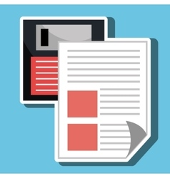 Floppy disk with document isolated icon design vector