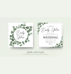 Floral wedding invite card design with eucalyptus vector
