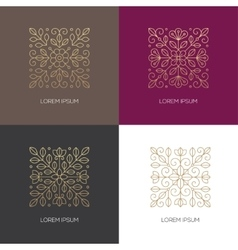 four square linear floral logo vector image