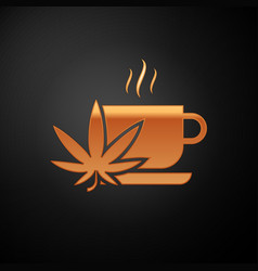 Gold cup tea with marijuana or cannabis leaf icon vector