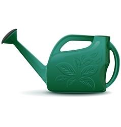 Green plastic garden watering can vector