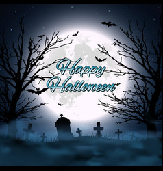 Halloween background with cemetery tree and moon vector