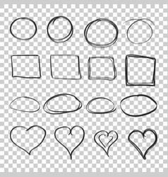 Hand drawn circles squares and hearts icon set vector