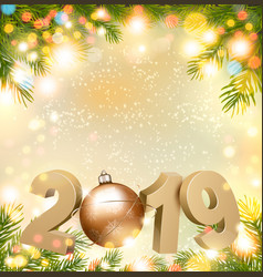 happy new year 2019 background with tree and ball vector image