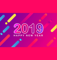 happy new year 2019 modern gradient purple pink vector image