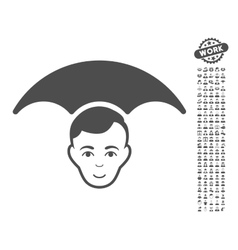 Head Umbrella Icon With Bonus vector