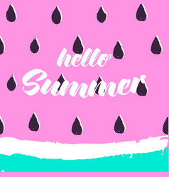 hello summer greeting card with hand drawn vector image