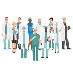 hospital medical staff team doctors together vector image vector image
