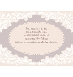 Invitation wedding card with beautiful lace vector