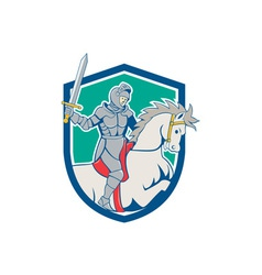 Knight Riding Horse Sword Cartoon vector