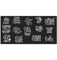 Lettering sets of coffee quotes vector