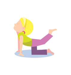 little girl doing stretching exercise vector image