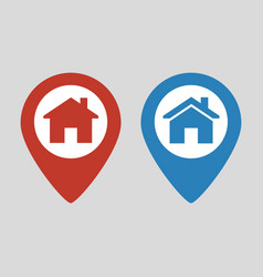 location icon flat with house vector image