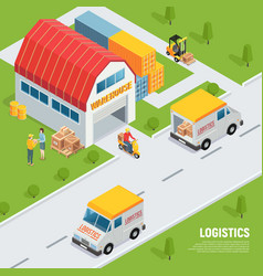logistics isometric composition vector image